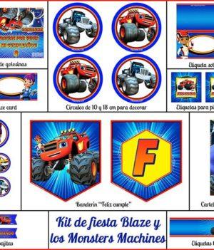 Decoración fiesta de cumpleaños Blaze y los Monsters Machines para imprimir
