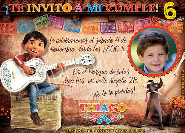 Invitación cumpleaños Coco #02 con Foto | Digital Imprimible
