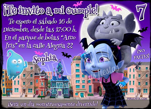 Invitación Cumpleaños Vampirina 01 Digital Imprimible Piruchita