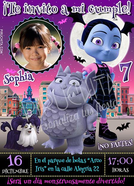 Invitación Cumpleaños Vampirina 02 Con Foto Digital Imprimible Piruchita