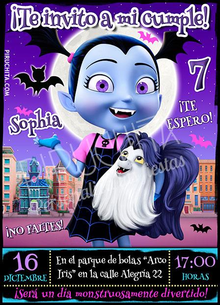 Invitación Cumpleaños Vampirina 03 Digital Imprimible Piruchita