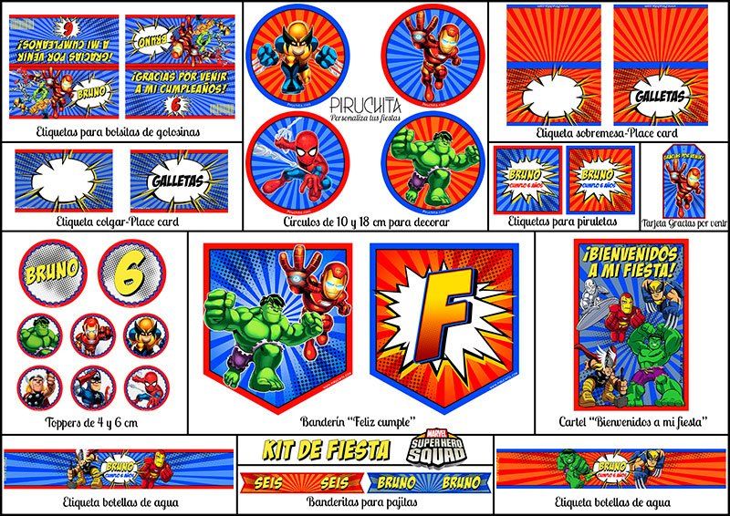 Decoración fiesta de cumpleaños Súper Héroes Squad para imprimir