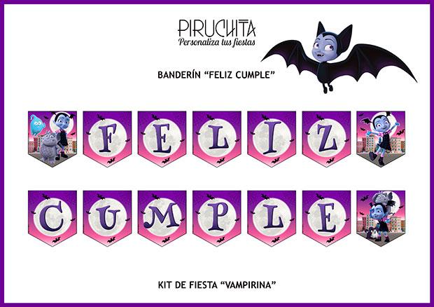 Decoración fiesta de cumpleaños Vampirina para imprimir