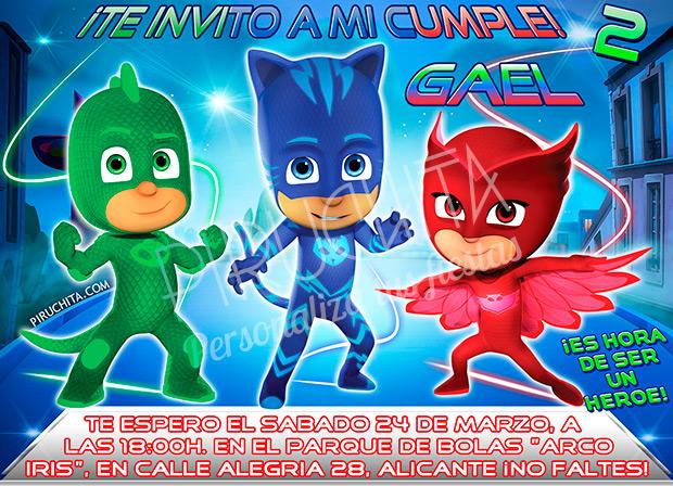 Invitación cumpleaños PJ Masks #01   Digital Imprimible