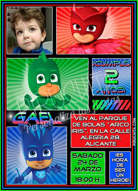 Invitación cumpleaños PJ Masks #02 con Foto | Digital Imprimible