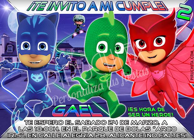 Invitación cumpleaños PJ Masks #03 | Digital Imprimible