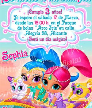 Invitación cumpleaños Shimmer & Shine #01 | Digital Imprimible
