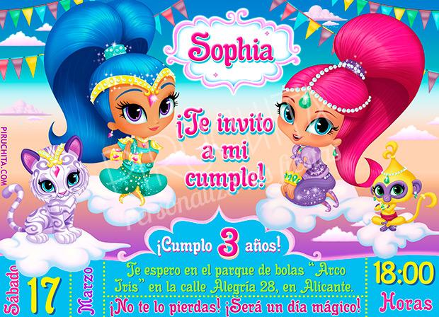 Invitación Cumpleaños Shimmer Shine 02 Digital Imprimible Piruchita