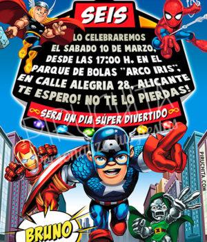 Invitación cumpleaños Súper Héroes Squad #04 | Digital Imprimible