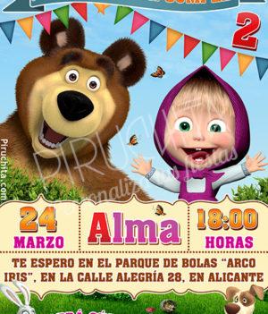 Invitación cumpleaños Masha y el Oso #01 | Digital Imprimible