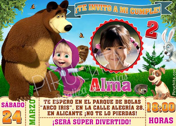 Invitación Cumpleaños Masha Y El Oso 02 Con Foto Digital Imprimible Piruchita