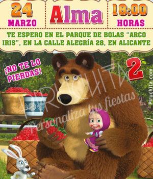 Invitación cumpleaños Masha y el Oso #03 | Digital Imprimible