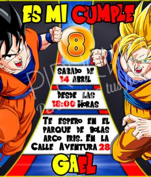 Invitación cumpleaños Dragon Ball #01 | Digital Imprimible