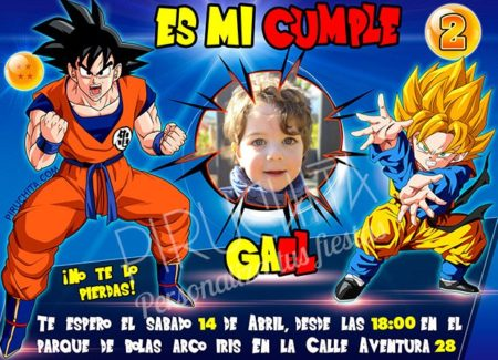 Invitación cumpleaños Dragon Ball #04 con Foto | Digital Imprimible