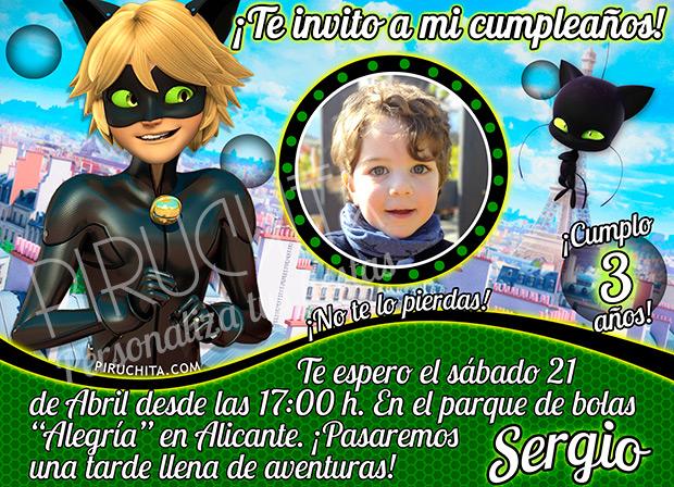 Invitación Cumpleaños Ladybug Cat Noir 05 Con Foto Digital Imprimible Piruchita