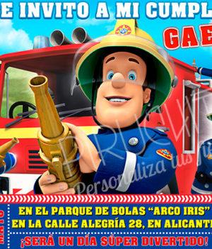 Invitación cumpleaños Sam el Bombero #01 | Digital Imprimible
