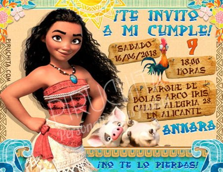 Invitación cumpleaños Vaiana (Moana) #01 | Digital Imprimible