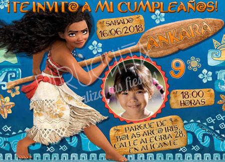 Invitación cumpleaños Vaiana (Moana) #03 con Foto| Digital Imprimible