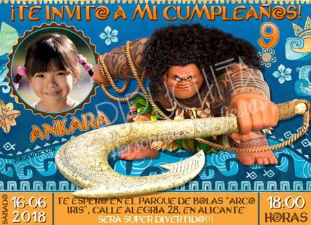 Invitación cumpleaños Vaiana (Moana) #04 con Foto| Digital Imprimible