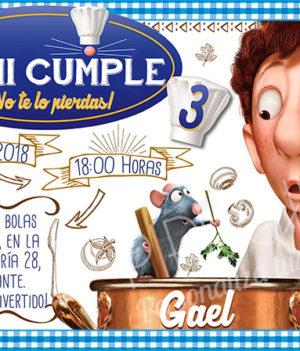 Invitación cumpleaños Ratatouille #02   Digital Imprimible