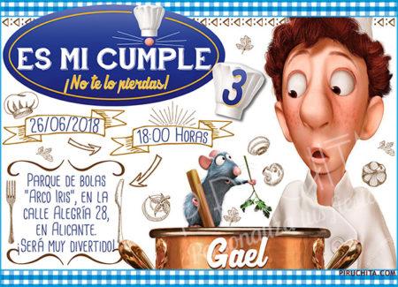 Invitación cumpleaños Ratatouille #02 | Digital Imprimible