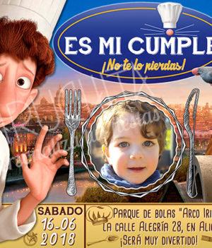 Invitación cumpleaños Ratatouille #03 con Foto   Digital Imprimible