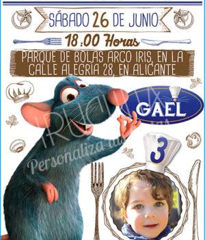 Invitación cumpleaños Ratatouille #04 con Foto   Digital Imprimible