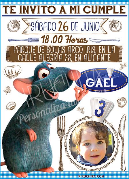 Invitación cumpleaños Ratatouille #04 con Foto | Digital Imprimible