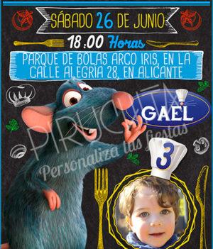Invitación cumpleaños Ratatouille #05 con Foto   Digital Imprimible