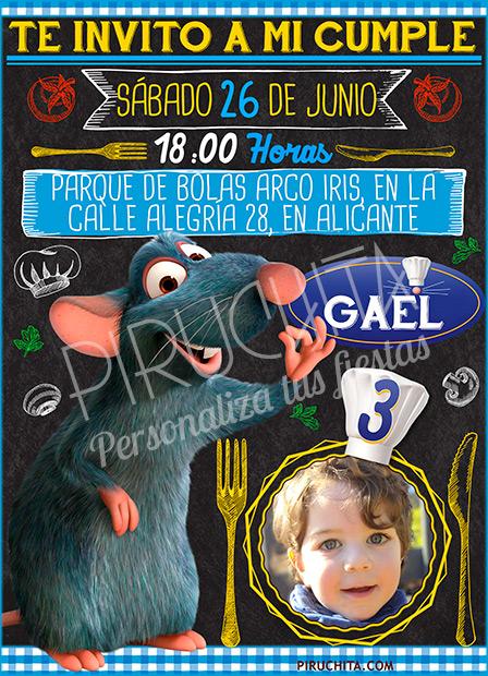 Invitación cumpleaños Ratatouille #05 con Foto | Digital Imprimible