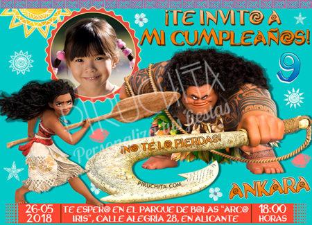 Invitación cumpleaños Vaiana (Moana) #05 con Foto| Digital Imprimible