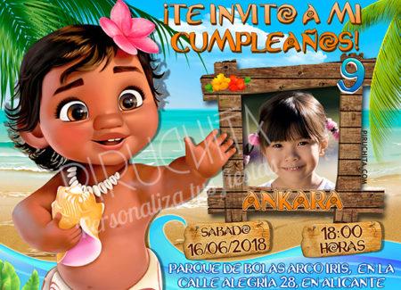Invitación cumpleaños Vaiana (Moana) #07 con Foto| Digital Imprimible