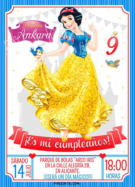 Invitación cumpleaños Blancanieves #14 | Digital Imprimible