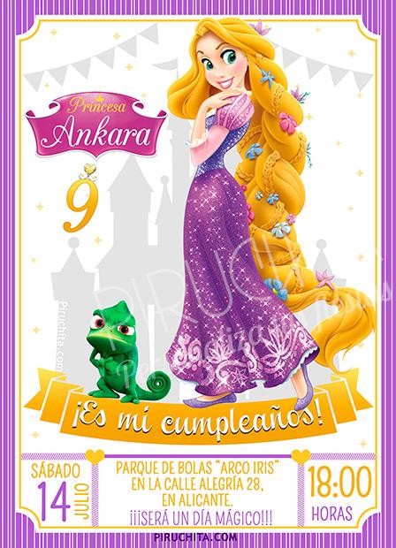 Invitación cumpleaños Enredados - Rapunzel #09 | Digital Imprimible