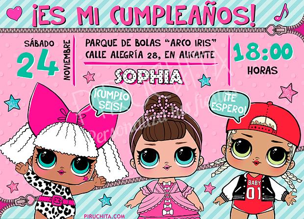 Invitación Cumpleaños Lol Surprise Muñecas 05 Digital Imprimible Piruchita