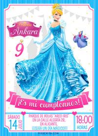 Invitación cumpleaños La Cenicienta #01 | Digital Imprimible