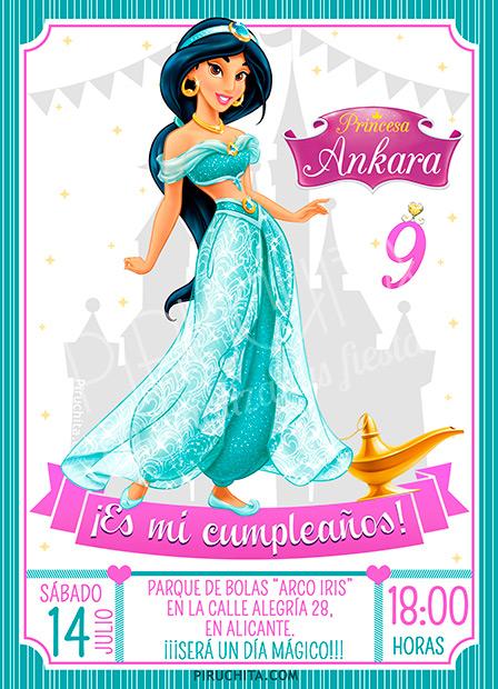 Invitación Cumpleaños Jasmine Aladdin 01 Digital Imprimible Piruchita