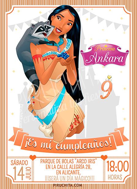 Invitación cumpleaños Pocahontas #01 | Digital Imprimible