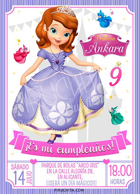 Invitación cumpleaños La Princesa Sofía #13 | Digital Imprimible