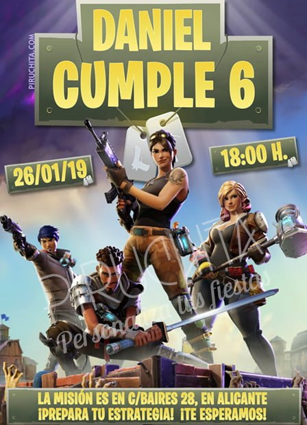 Invitación Cumpleaños Fortnite 02 Digital Imprimible Piruchita