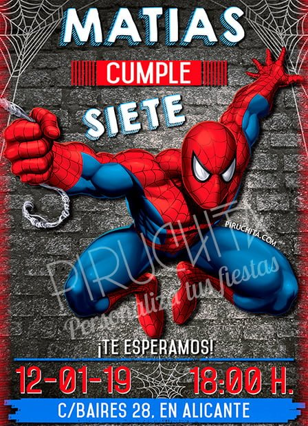Invitación Cumpleaños Spiderman 01 Digital Imprimible Piruchita