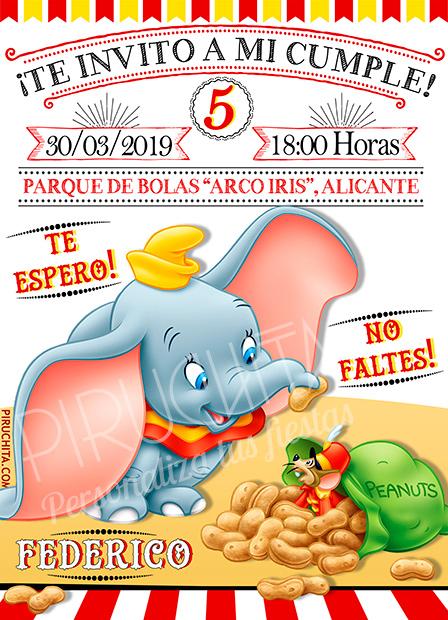 Invitación cumpleaños Dumbo #03 | Digital Imprimible
