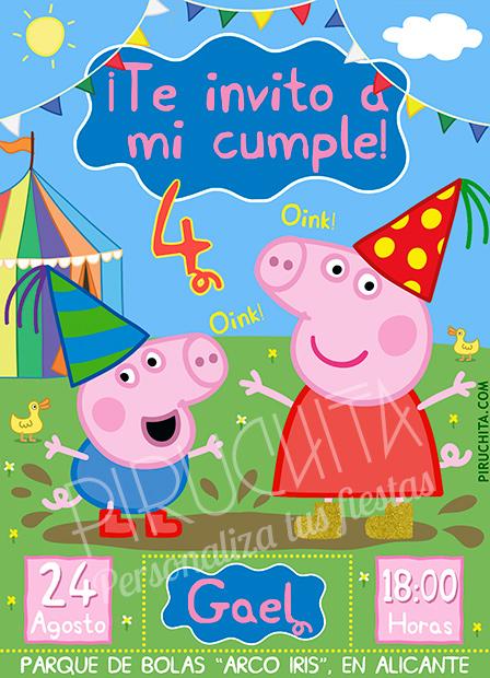Invitación cumpleaños Peppa Pig #01 | Digital Imprimible