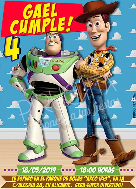 Invitación cumpleaños Toy Story #01 | Digital Imprimible