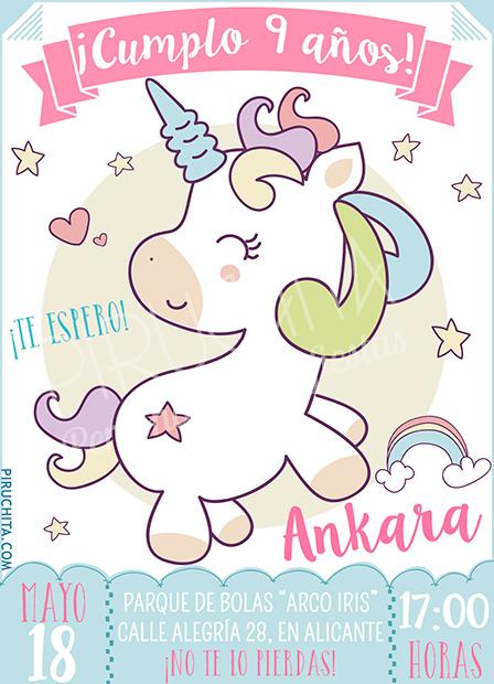 Invitación cumpleaños Unicornios #04 | Digital Imprimible