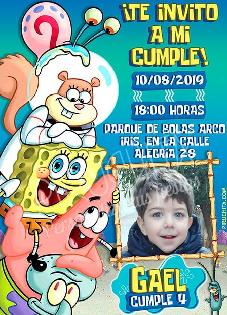 Invitación Cumpleaños Bob Esponja 06 Con Foto Digital Imprimible Piruchita