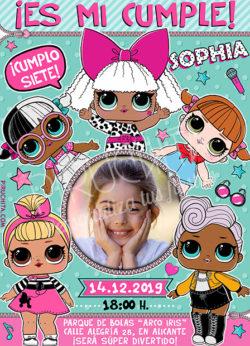 Invitación cumpleaños LOL Surprise Muñecas #06 con Foto | Digital Imprimible