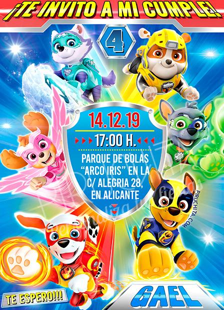 Invitación cumpleaños La Poderosa Patrulla Canina #01 | Digital Imprimible