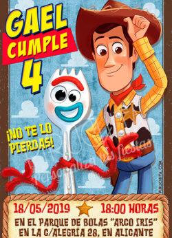 Invitación cumpleaños Woody y Forky, Toy Story | Digital Imprimible