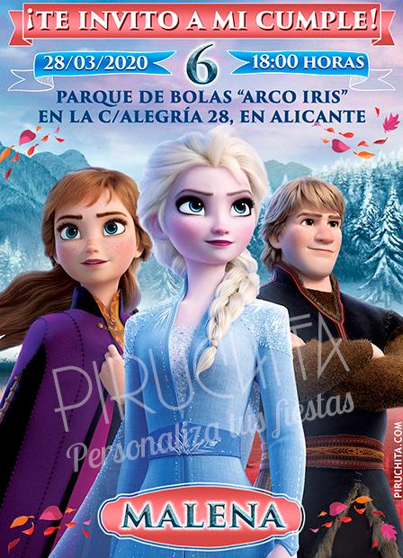 Invitación cumpleaños de Ana, Elsa y Kristoff, Frozen | Digital Imprimible